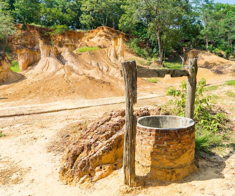 Puits d'eau dans la terre sèche photo stock