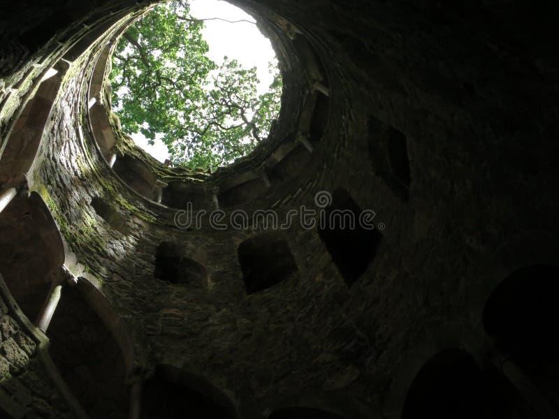 Puits maçonnique d'initiation en Quinta de Regaleira photographie stock libre de droits