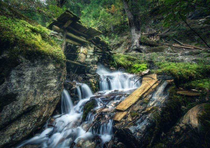 Puits pierreux dans la forêt verte colorée avec peu de cascade image libre de droits