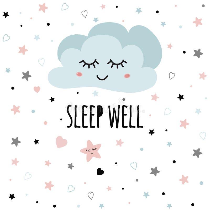 Puits rose-clair mignon de sommeil des textes de souhait de nuage de bande dessinée pour le décor d'affiche de bébé pour le vecte illustration libre de droits