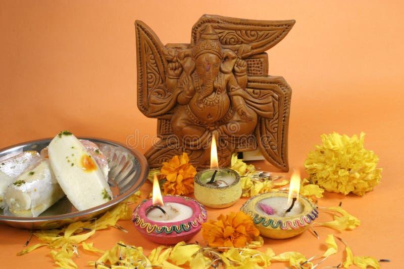 Puja Diwali, традиционное индийское празднество стоковые фото