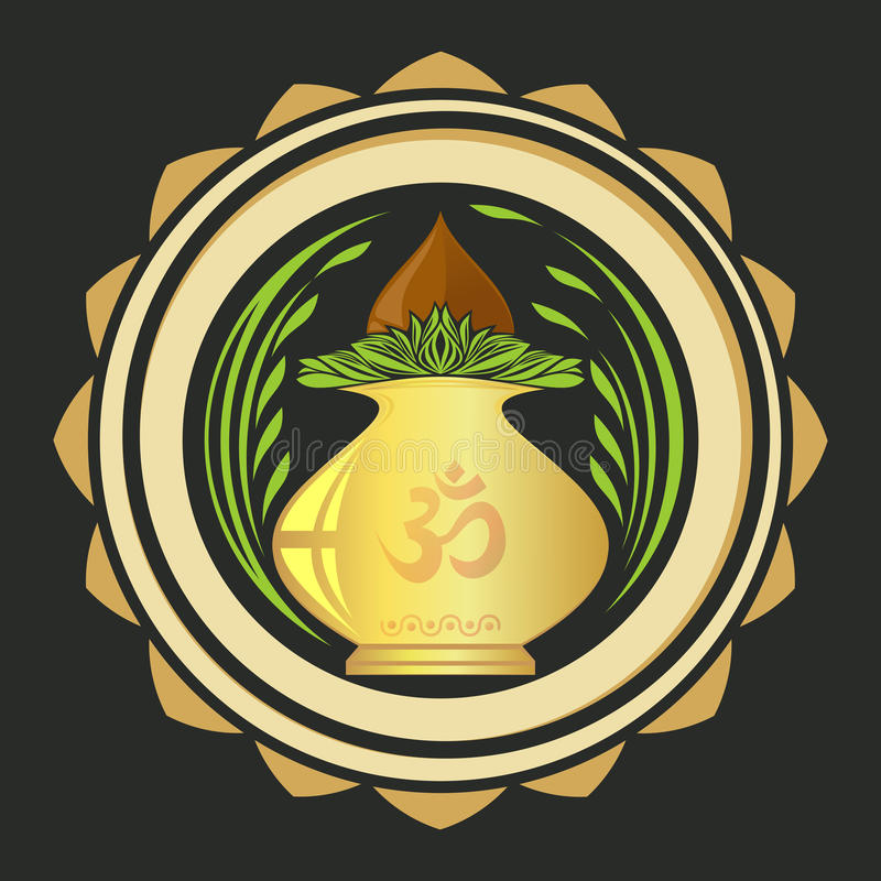 Puja Kalasha also kalash or kalasa. Metal pot used in Hindu rites. And depicted in Hindu iconography. Vector illustration vector illustration