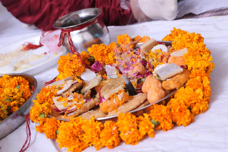 Puja Thali stock afbeelding