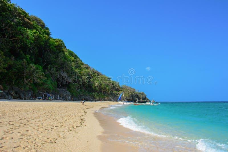 Puka海滩,博拉凯海岛的北部 免版税库存照片