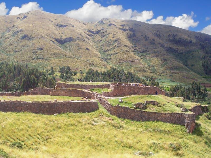 Puka Pukara (Puca Pucara)废墟在库斯科,秘鲁 免版税库存照片