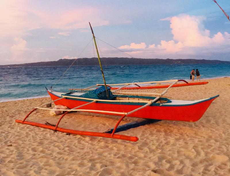 Puka Shell Beach Boracay. Puka Shell beach has golden sand and sunset here is awesome stock photography