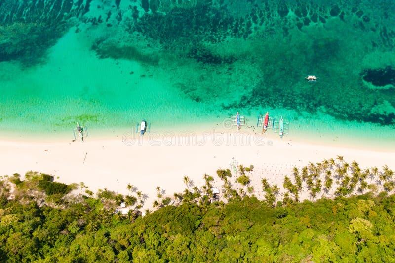Puka Shell Beach, Boracay-Eiland, Filippijnen, satellietbeeld royalty-vrije stock foto