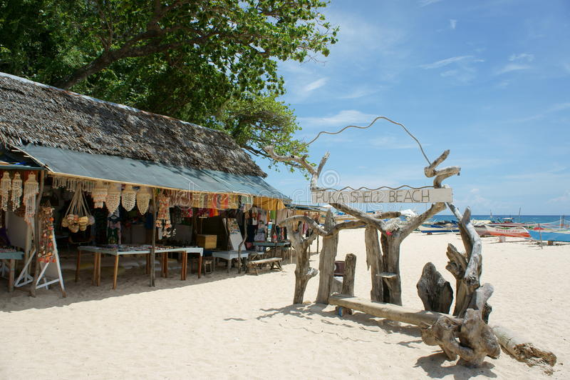 Puka shell beach. Boracay island stock photos