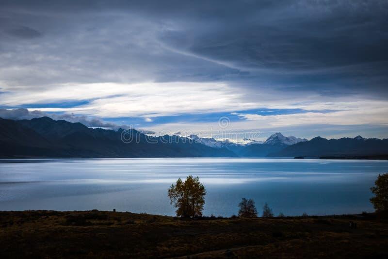 Pukaki jezioro, góra Cook, Nowa Zelandia fotografia stock