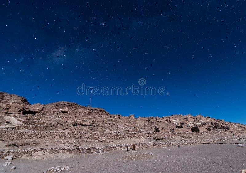 Pukara de Lasana dans une nuit étoilée photos stock