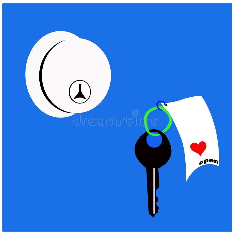 Puknięcia drzwi, klucz i miłość, fotografia stock