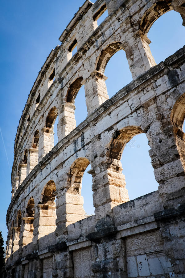 Pula Amphitheater. The Exterior of Pula Amphitheater in Istria, Croatia royalty free stock image