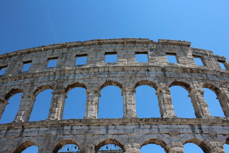 Pula, Istria, Kroatië, oud amfitheater royalty-vrije stock foto's
