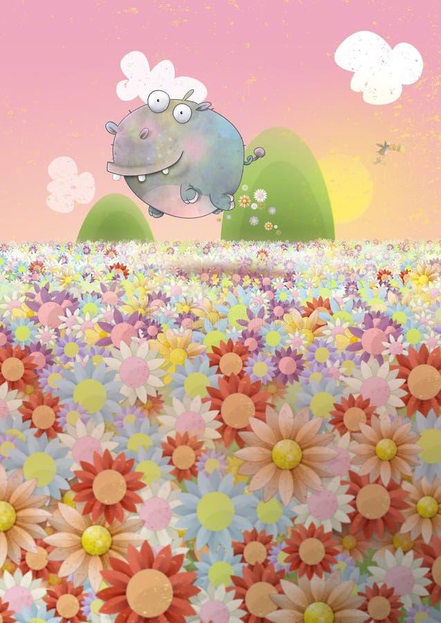 Pulando o Hippopotamus ilustração do vetor