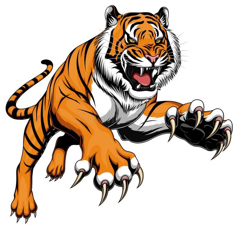 Pulando o tigre ilustração royalty free