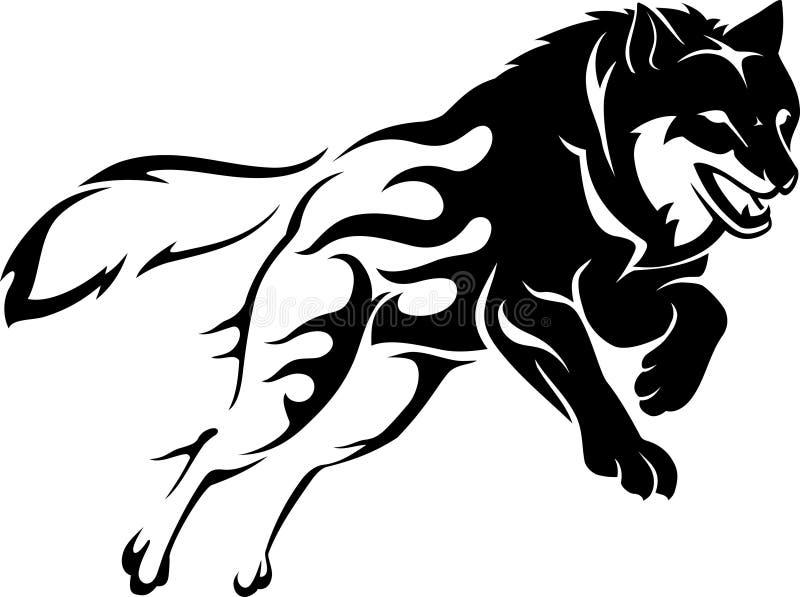 Pulando Wolf Flame ilustração do vetor