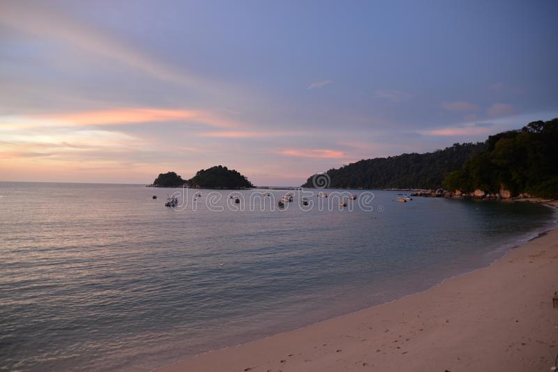 Pulau Pangkor Island, Malaysia. Teluk Nipah beach by sunset. Colourful sunset on the Indian Ocean, Teluk Nipah beach, Pulau Pangkor island, Malaysia stock photo