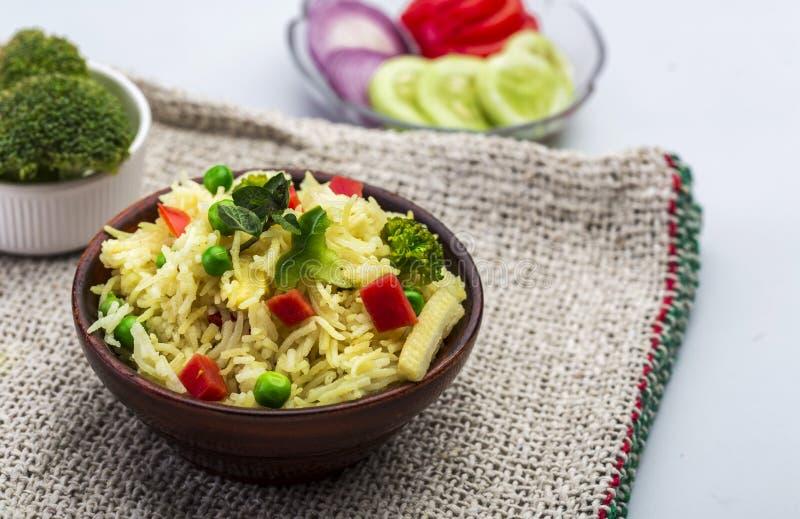 Pulav di biryani o della verdura di Veg o riso cucinato immagini stock libere da diritti