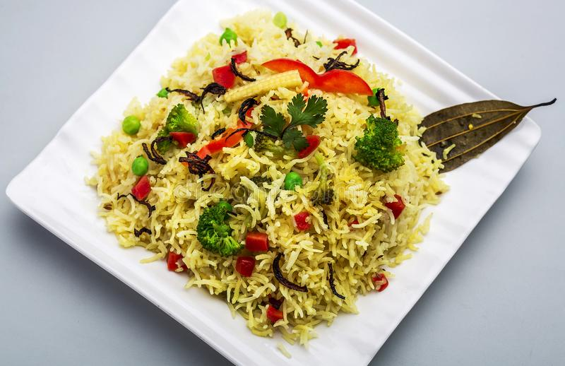 Pulav di biryani di Veg o del veg o riso cucinato immagine stock