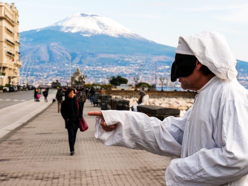 Pulcinella传统那不勒斯的面具 免版税库存照片