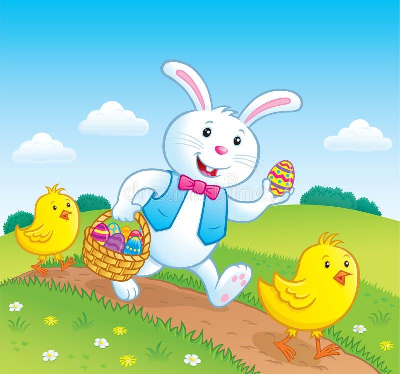 Pulcini del coniglietto e del bambino di pasqua sulla traccia illustrazione vettoriale
