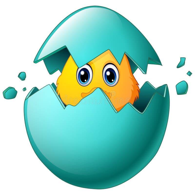 Pulcini svegli di pasqua nelle coperture dell'uovo royalty illustrazione gratis