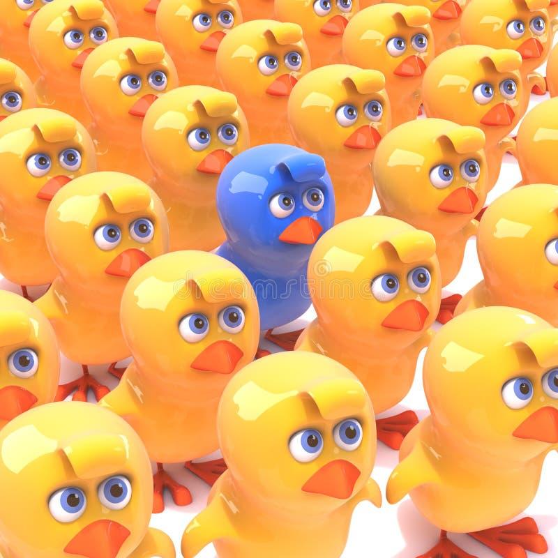 pulcino blu 3d fra i pulcini gialli royalty illustrazione gratis
