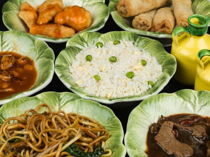 Pulcino cinese di Fried Rice Vegetable Noodles Fried dell'uovo del buffet dell'alimento fotografia stock