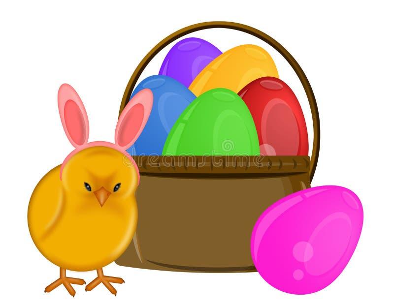 Pulcino di Pasqua con la fascia ed il cestino delle orecchie del coniglietto royalty illustrazione gratis
