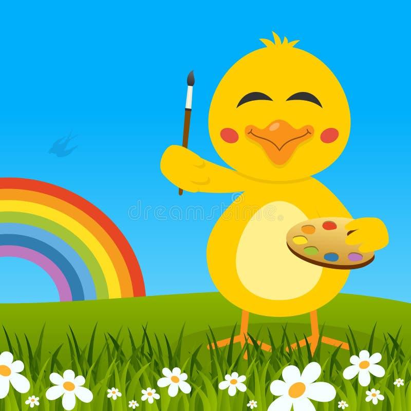 Pulcino sveglio di Pasqua con la tavolozza & l'arcobaleno illustrazione vettoriale