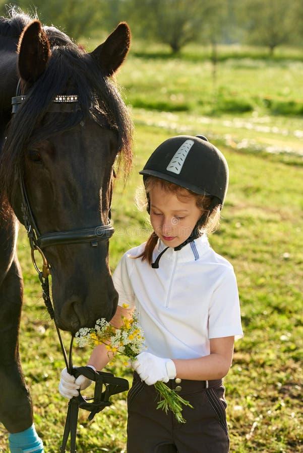 Puleggia tenditrice della bambina che comunica con il suo cavallo nero in attrezzatura professionale fotografia stock libera da diritti
