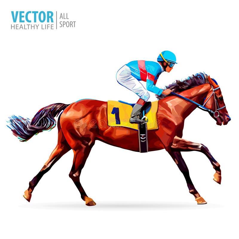 Puleggia tenditrice sul cavallo campione Cavallo Racing hippodrome racetrack illustrazione di stock