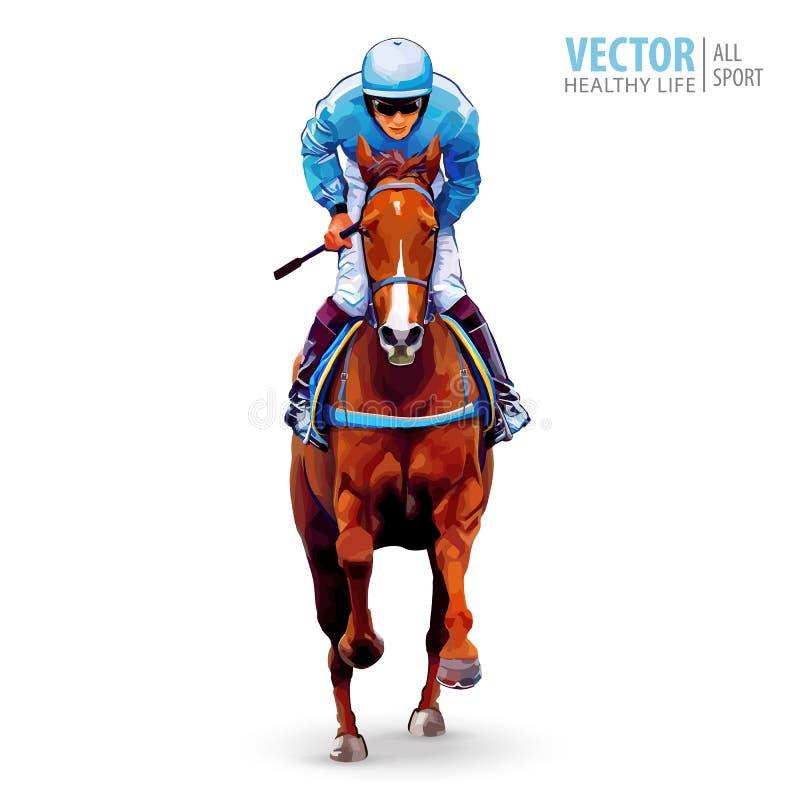 Puleggia tenditrice sul cavallo campione Cavallo Racing hippodrome racetrack Salti la pista Corsa di cavalli Cavallo di corsa che illustrazione vettoriale