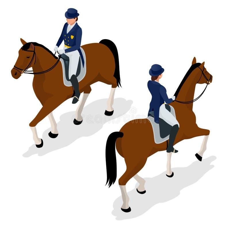 Puleggia tenditrice sul cavallo campione Cavallo Racing hippodrome racetrack Salti la pista Illustrazione isometrica di vettore illustrazione vettoriale