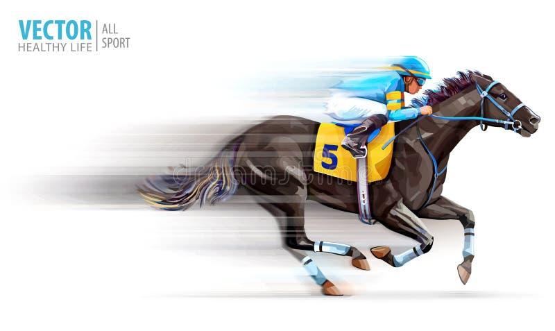 Puleggia tenditrice sul cavallo di corsa campione hippodrome racetrack Corsa di cavalli derby velocit? movimento vago Isolato su  illustrazione di stock