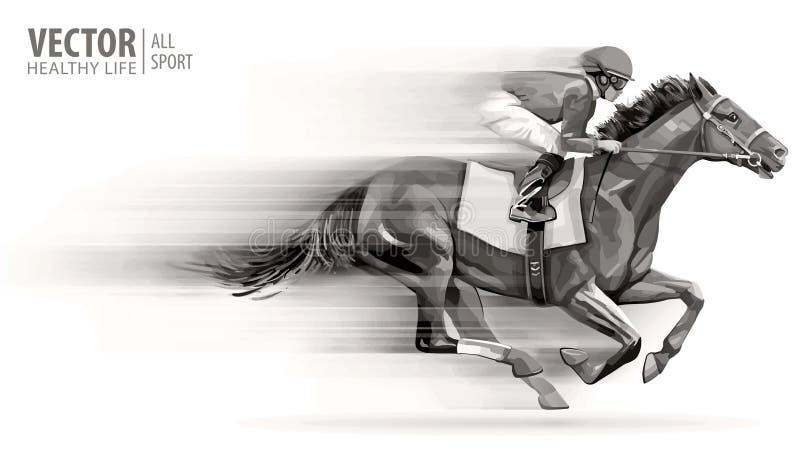 Puleggia tenditrice sul cavallo di corsa campione hippodrome racetrack Corsa di cavalli Illustrazione di vettore derby velocità v illustrazione di stock