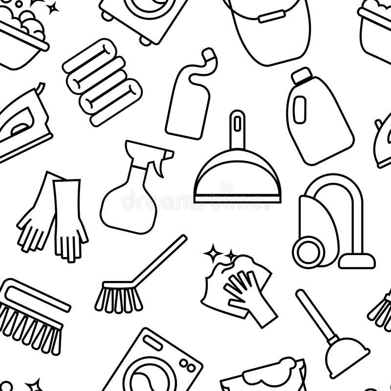 Pulendo, linea icone del lavaggio Lavatrice, spugna, zazzera, ferro, aspirapolvere, fondo clining della pala L'ordine nella casa  illustrazione vettoriale