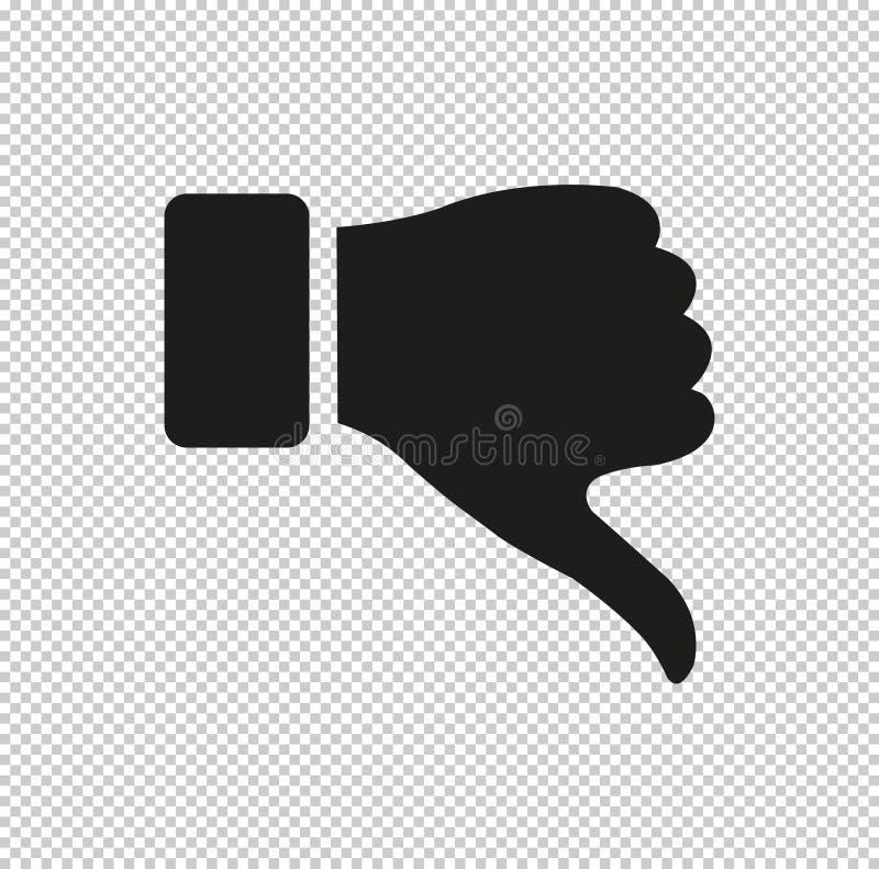 Pulgar abajo del gesto - icono negro del vector libre illustration