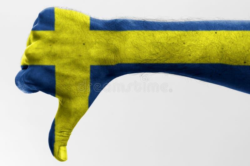 Pulgar abajo Suecia foto de archivo