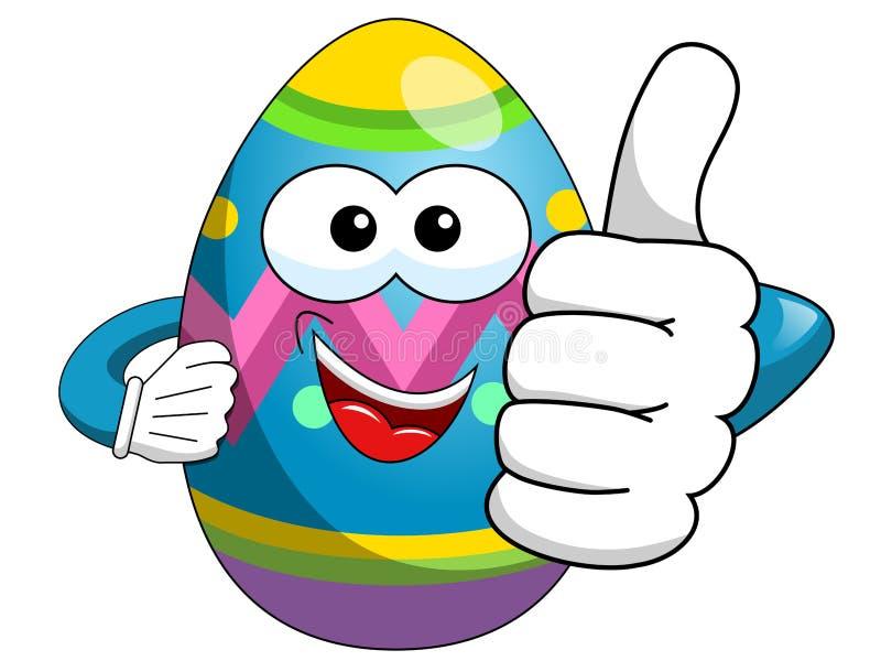 Pulgar adornado de la historieta del huevo de Pascua para arriba aislado ilustración del vector