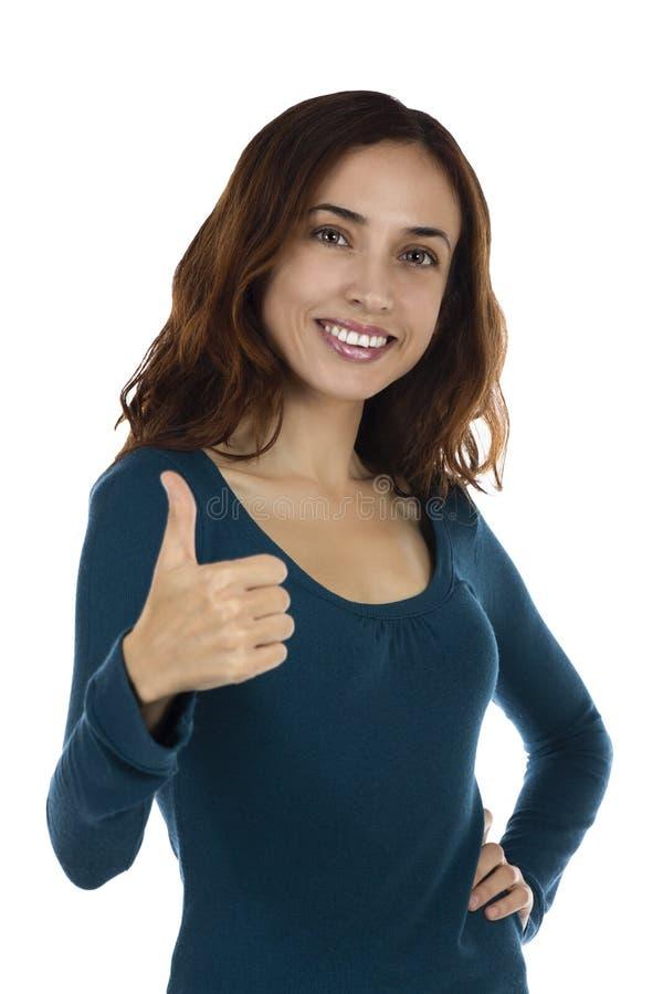 Download Pulgar Atractivo Sonriente De La Mujer Para Arriba Foto de archivo - Imagen de persona, blanco: 44852716