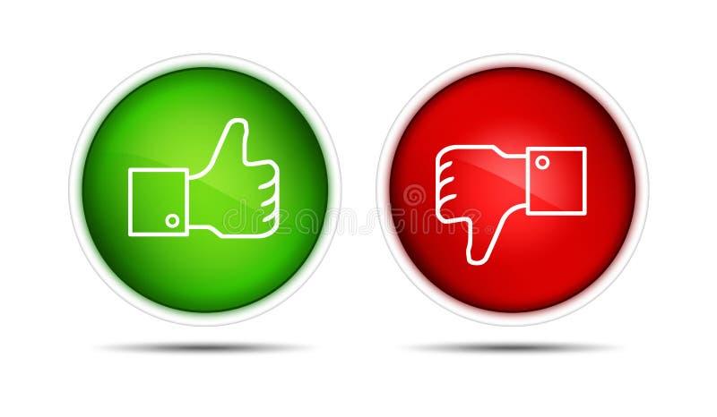 Pulgar de Facebook para arriba abajo de los botones aislados stock de ilustración
