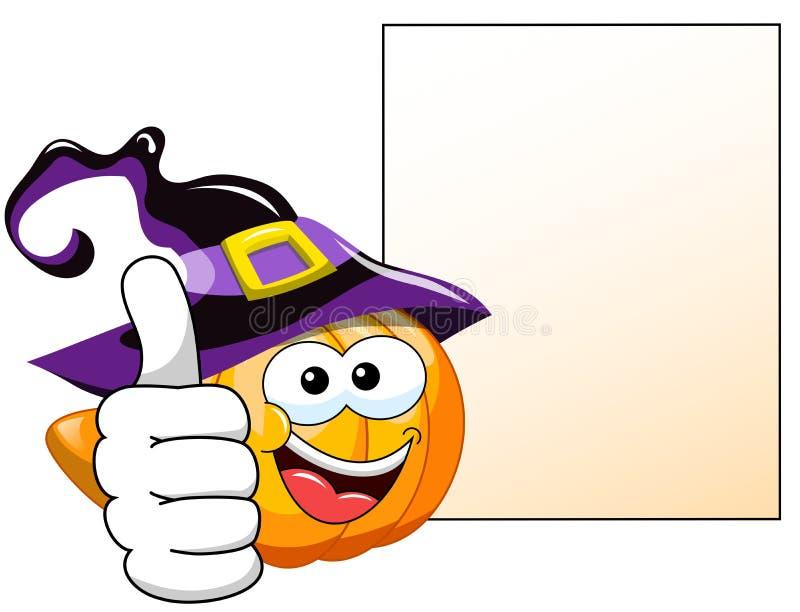 Pulgar de la calabaza de la historieta de Halloween encima de la bandera en blanco ilustración del vector