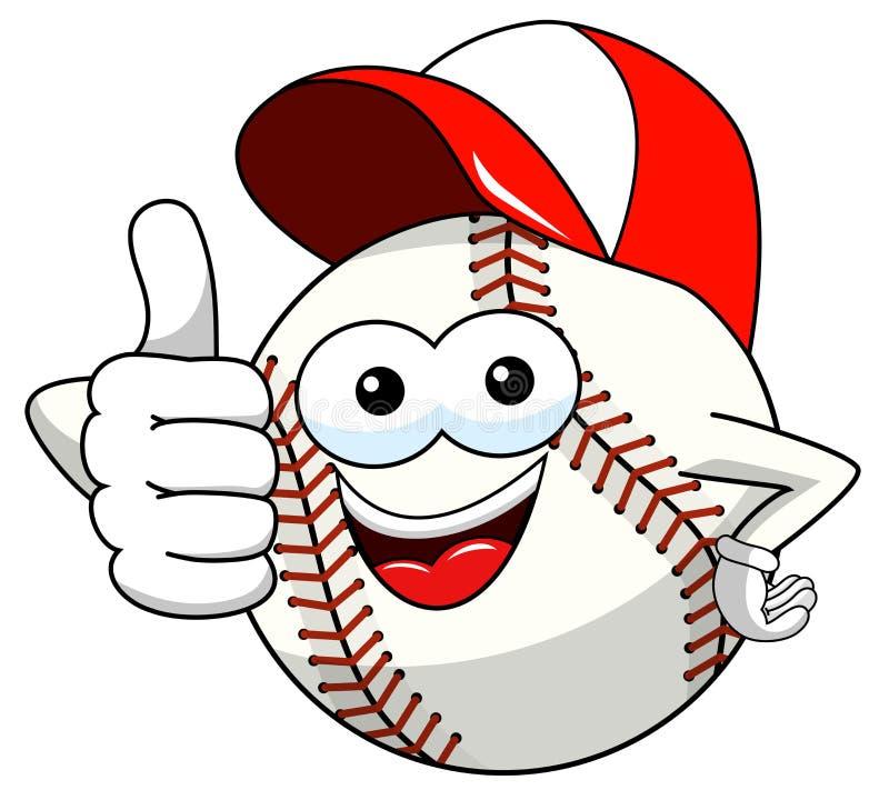 Pulgar de la historieta de la mascota del carácter de la bola del béisbol encima del vector del casquillo aislado stock de ilustración