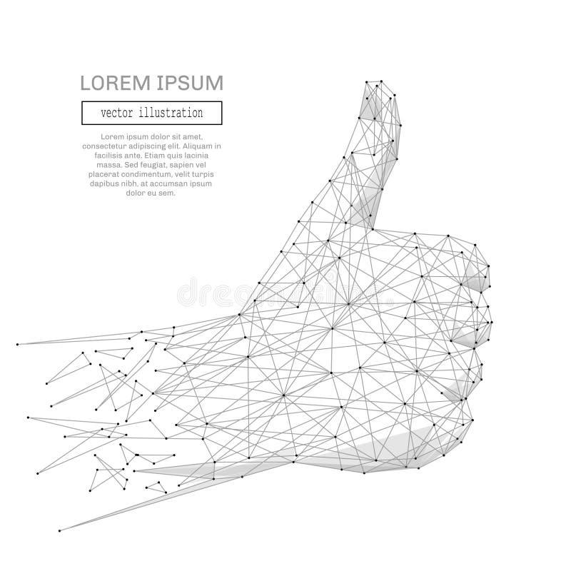 Pulgar de la mano encima del gris ilustración del vector