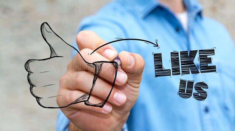 Pulgar del dibujo del hombre de negocios encima del ejemplo con una pluma ilustración del vector