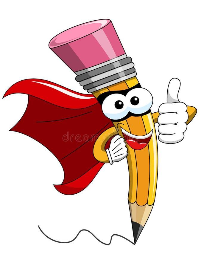Pulgar del super héroe de la historieta de la mascota del lápiz para arriba aislado stock de ilustración