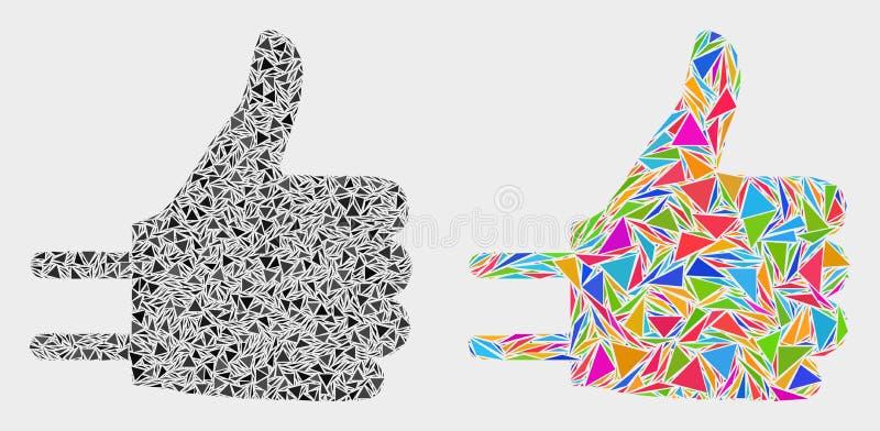 Pulgar del vector encima del icono del mosaico del adaptador de triángulos ilustración del vector