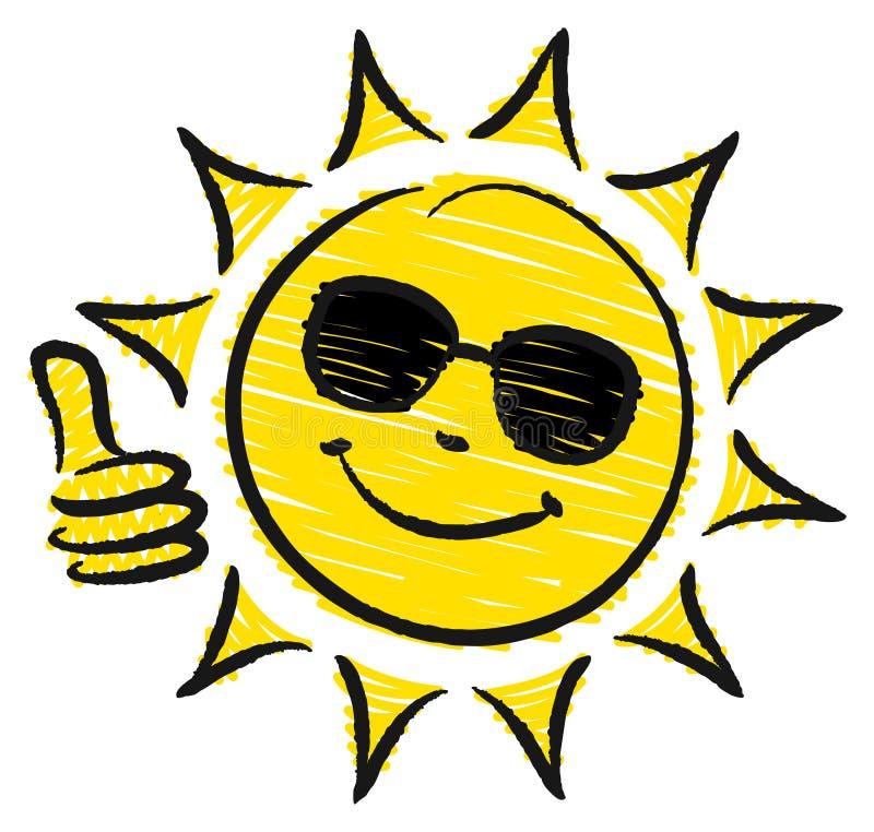 Pulgar dibujado mano de Sun encima de las gafas de sol amarillas y negras ilustración del vector