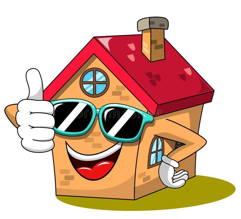 Pulgar divertido del carácter de la historieta feliz de la casa encima de las gafas de sol frescas aisladas libre illustration